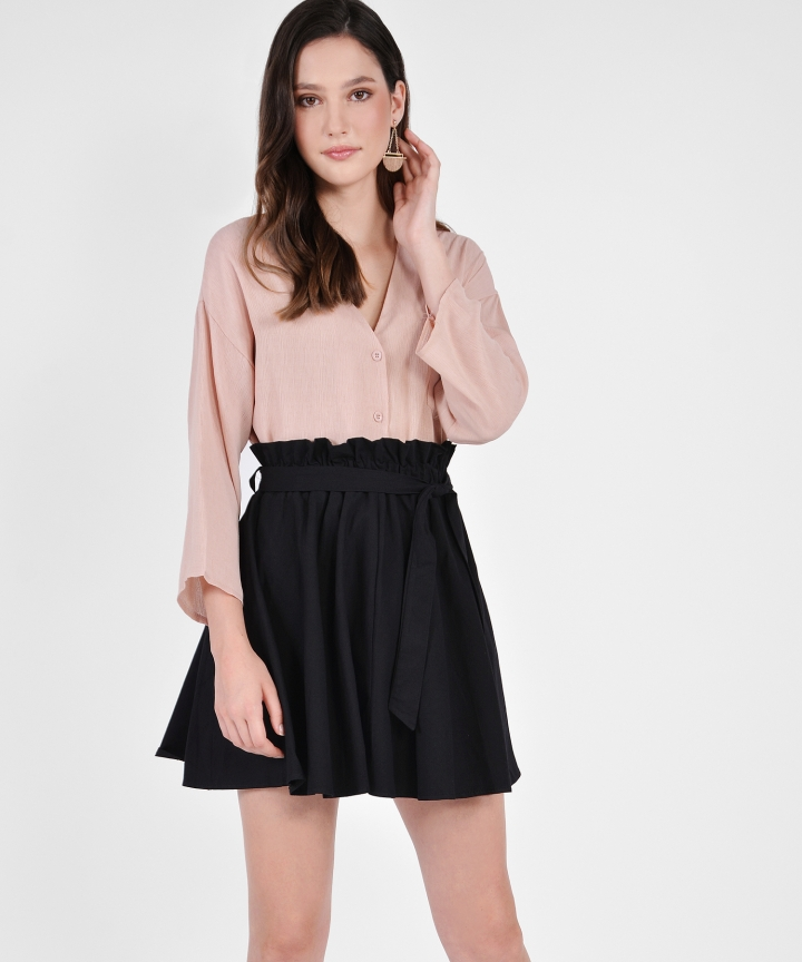 Leah Paperbag Skirt - Black