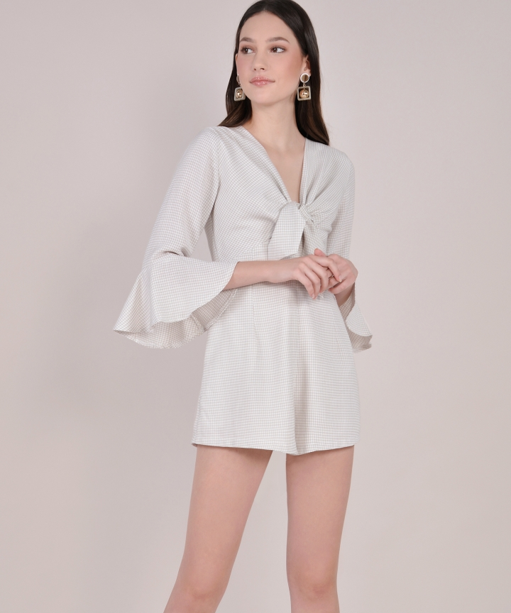 Gretchen Checkered Playsuit - Pale Sand