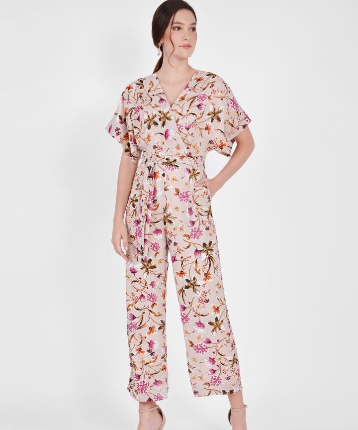 Hana Kimono Floral Jumpsuit - Blush