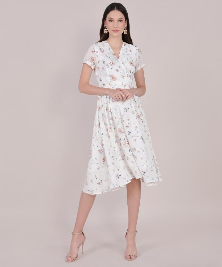 Mallory Floral Overlay Midi - White
