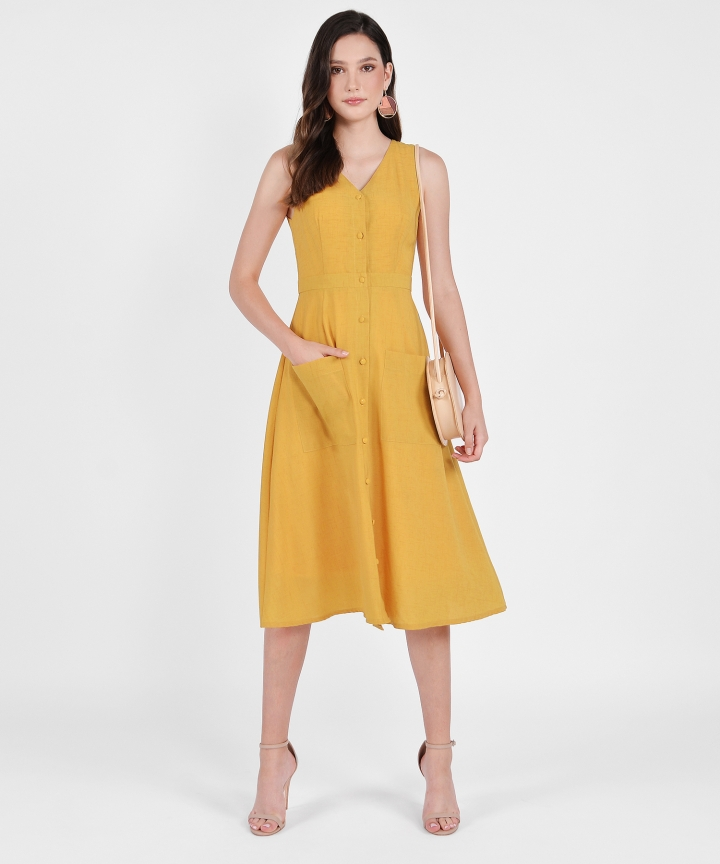 Elodie Button-Down Linen Midi - Mustard