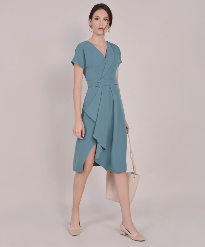 Maxine Asymmetrical Midi - Dust Turquoise