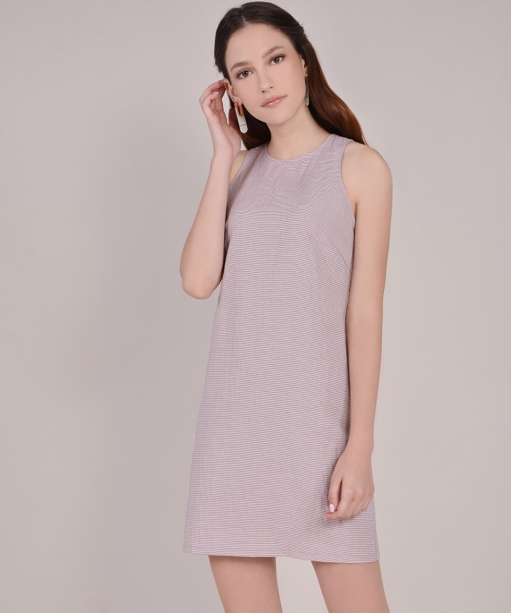 Sienna Striped Shift Dress - Dust Pink