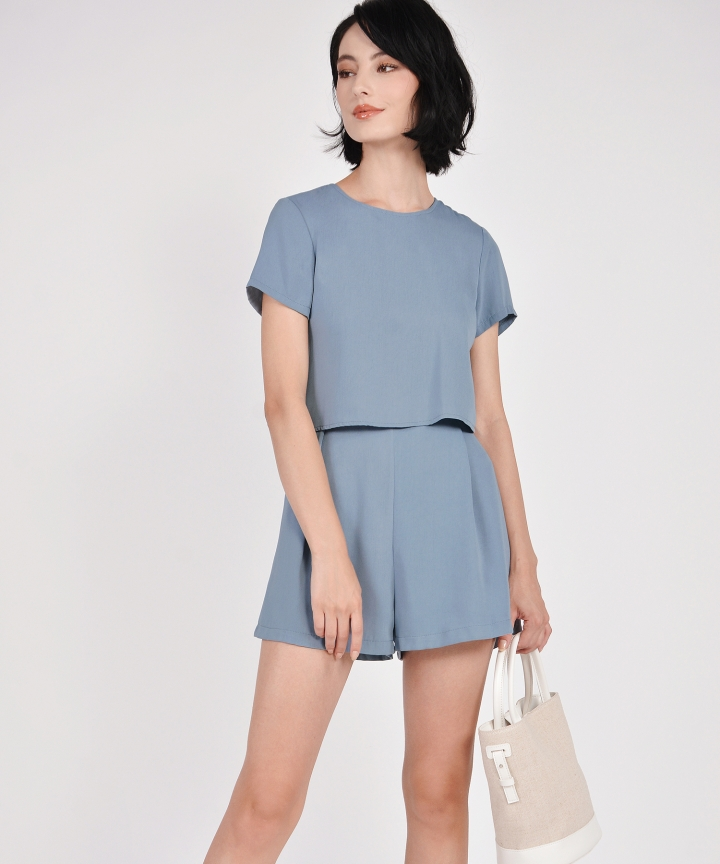 Modena Tiered Playsuit - Mist Blue