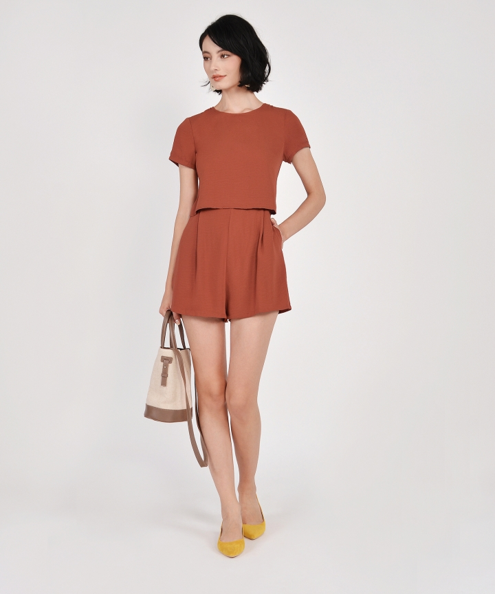 Modena Tiered Playsuit - Burnt Orange