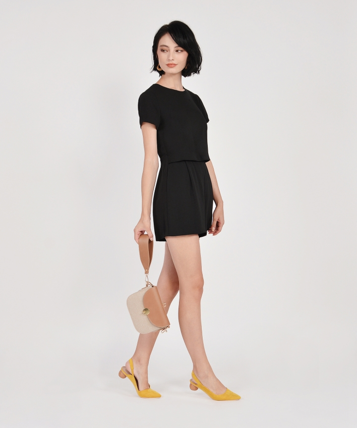 Modena Tiered Playsuit - Black