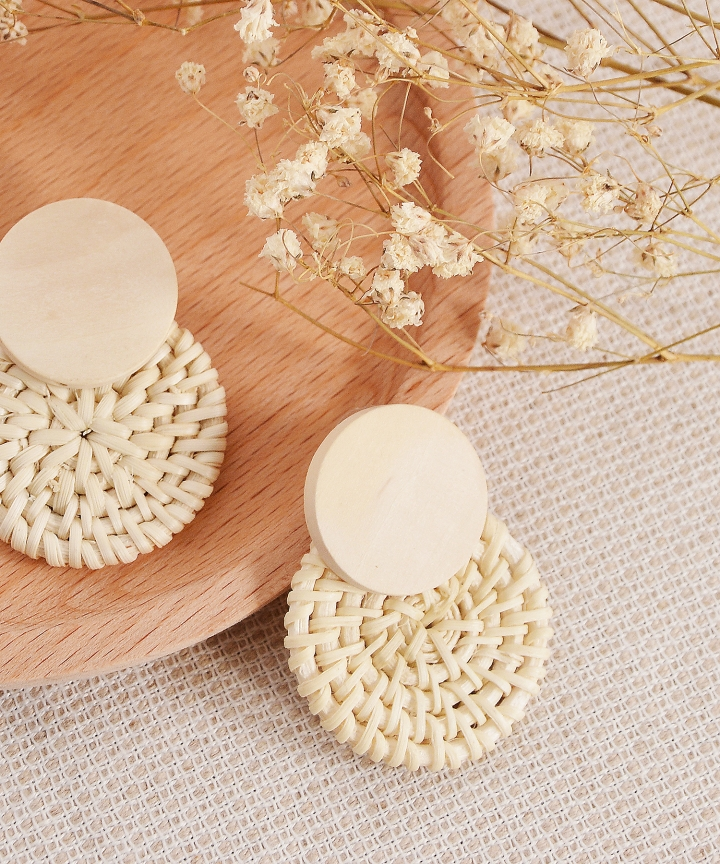 Corrine Rattan Circle Earrings - White