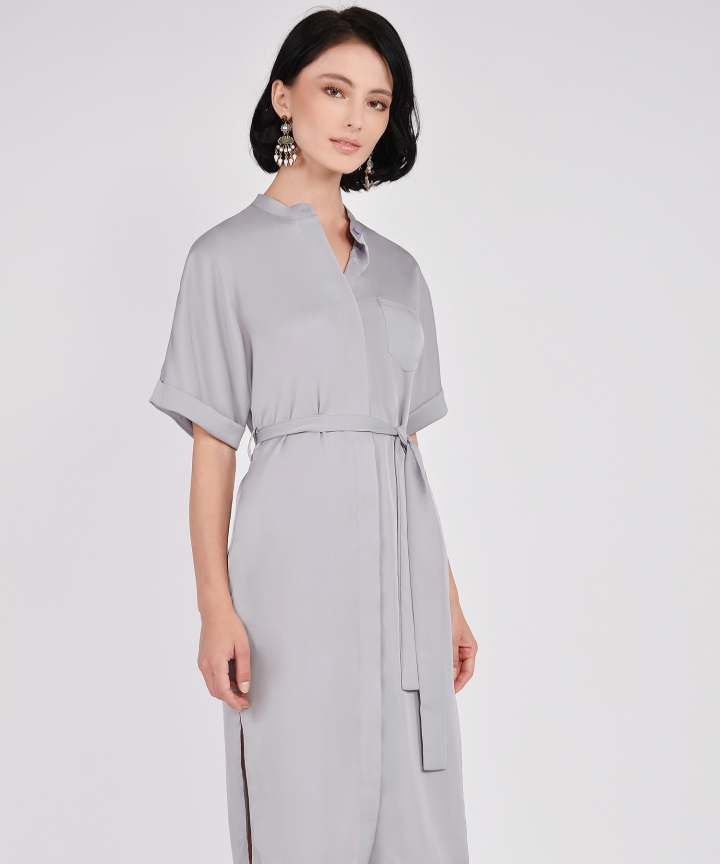 Oxford Midi Shirtdress - Silver Grey