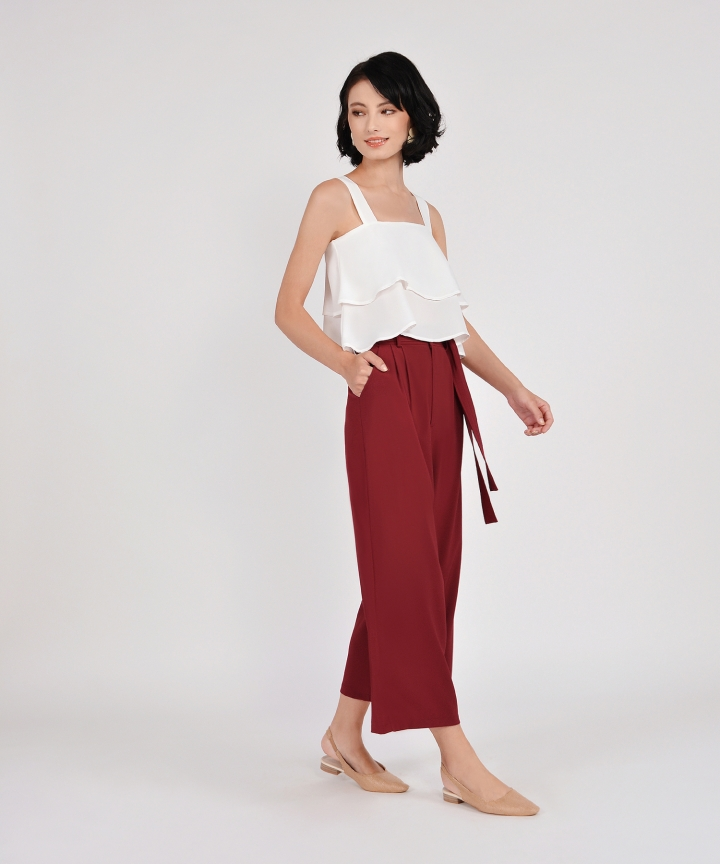 Gemma Wide Leg Trousers - Carmine