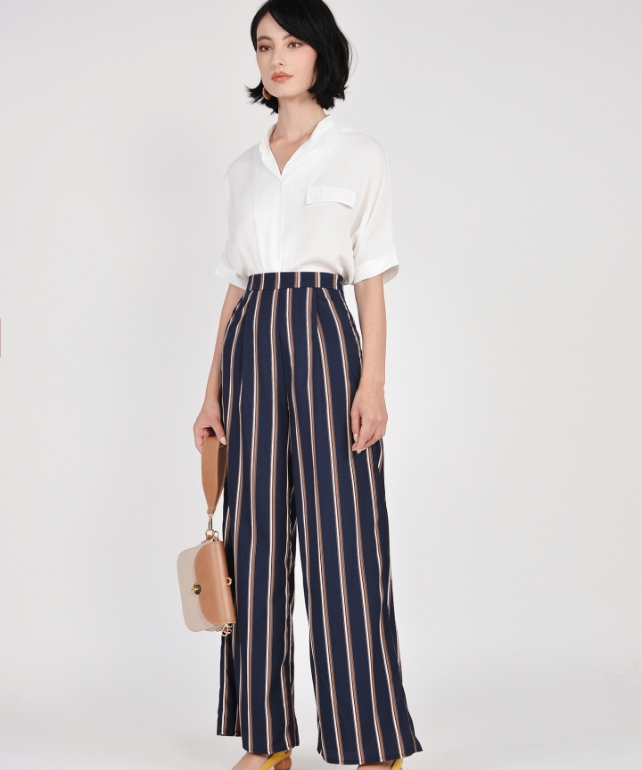 Marcello Striped Trousers - Navy