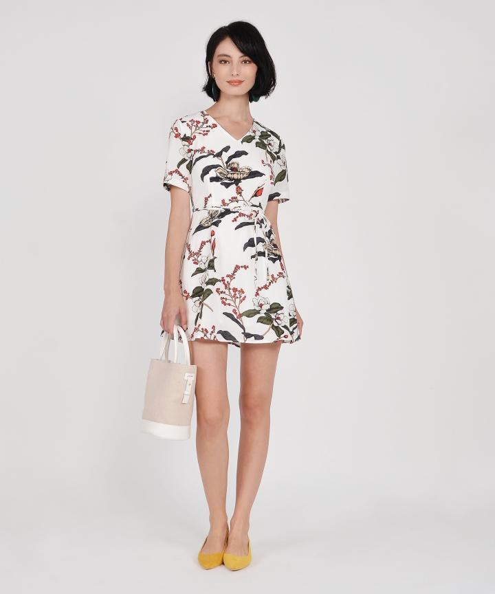 Jasmine Floral Mini Dress - White