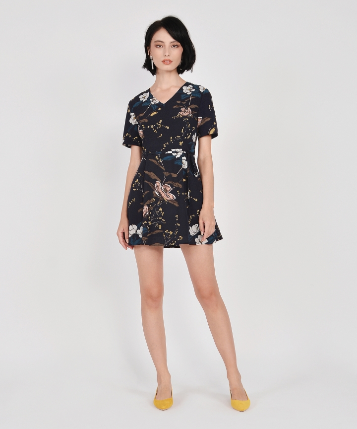 Jasmine Floral Mini Dress - Midnight Blue