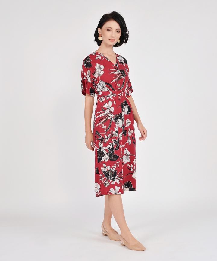 Fiore Kimono Culotte Jumpsuit - Crimson
