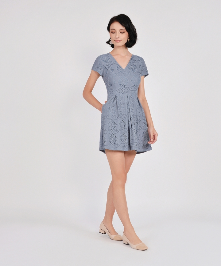 Carousel Lace Dress - Dust Blue