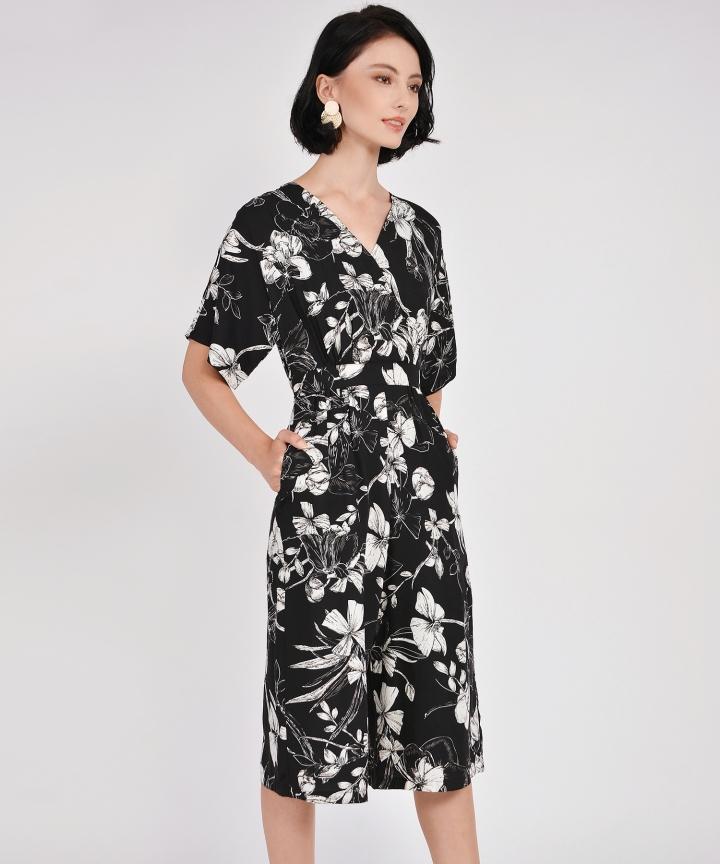 Fiore Kimono Culotte Jumpsuit - Black
