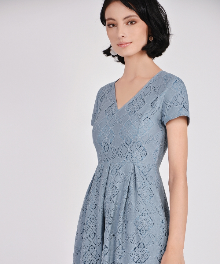 Carousel Lace Dress - Dust Blue