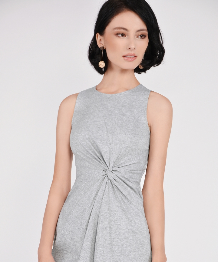 Lena Knotted Dress - Heather Grey