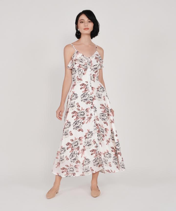 Tabitha Floral Ruffle Maxi - White