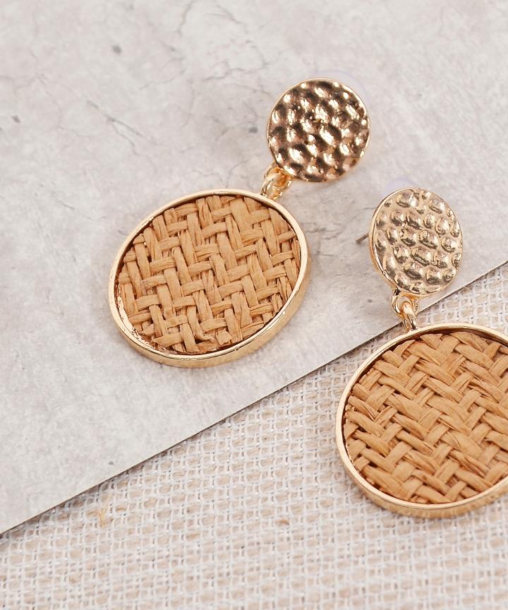 Double Circle Earrings - Brown