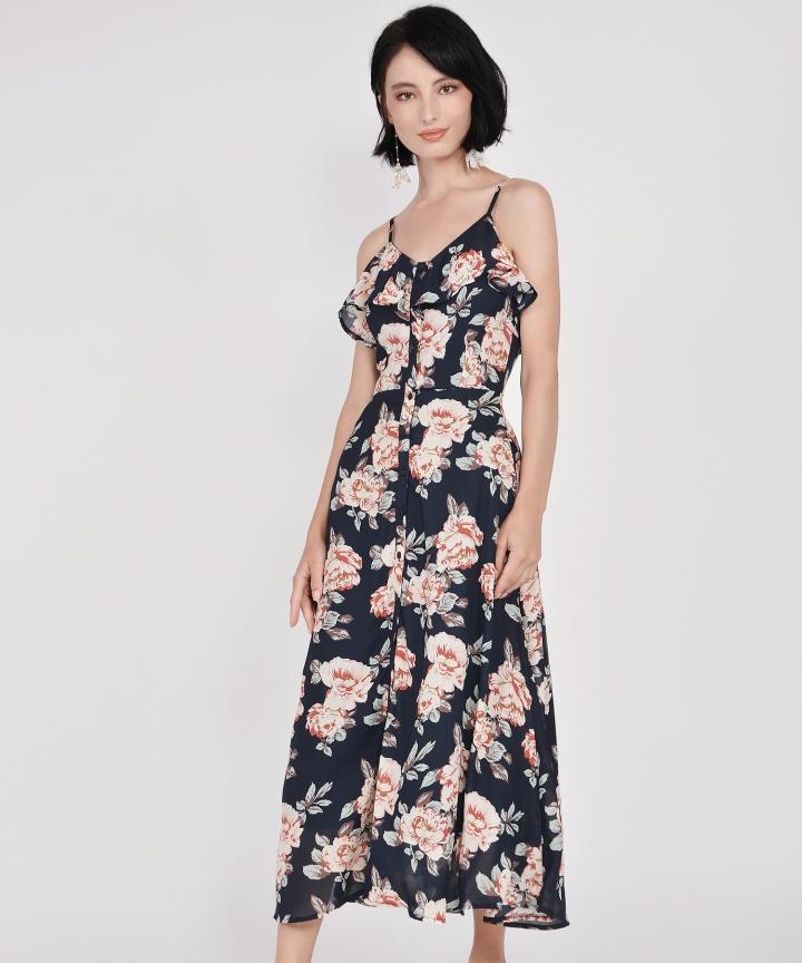 Tabitha Floral Ruffle Maxi - Midnight Blue