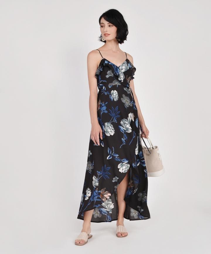 Kimora Floral Overlay Maxi - Black