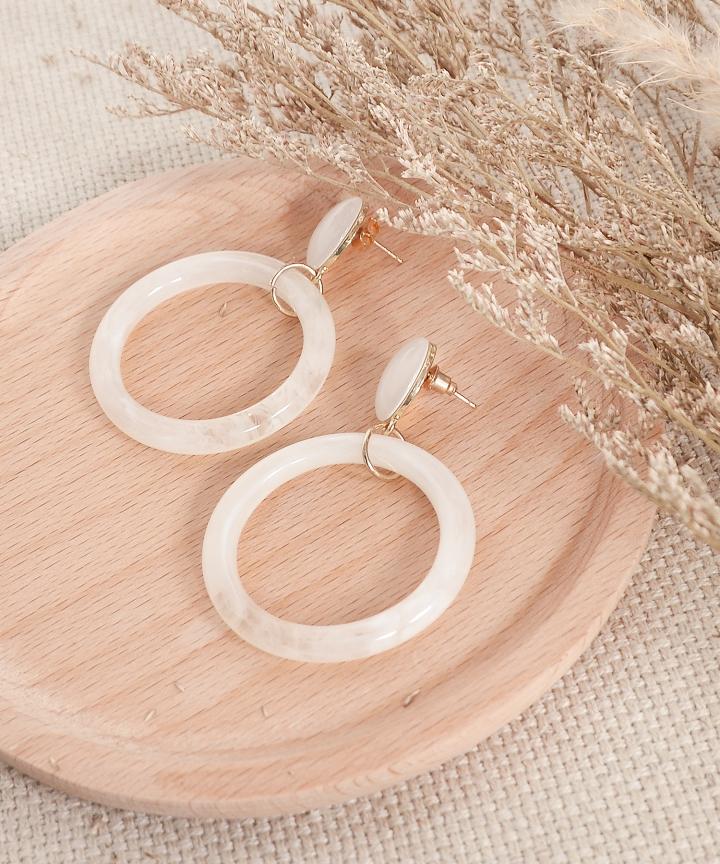 Cruz Marble Hoop Earrings