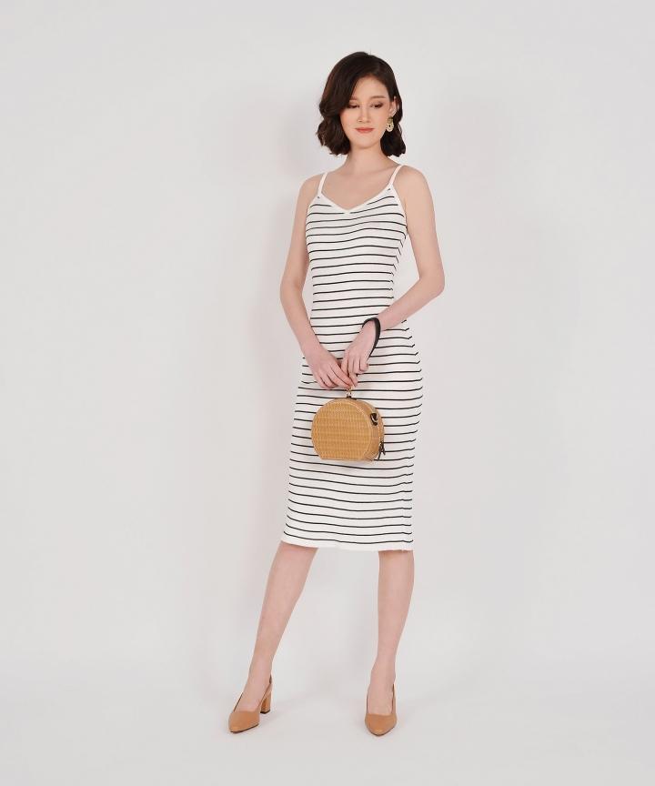 Kelsie Striped Knit Midi - White