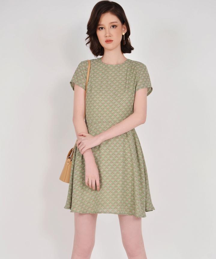 Elsie Printed Mini Dress - Dust Green
