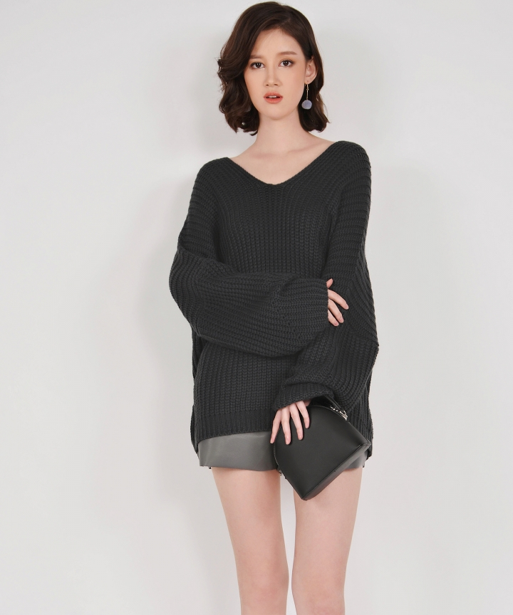 Jacques Oversized Knit Top - Charcoal Grey