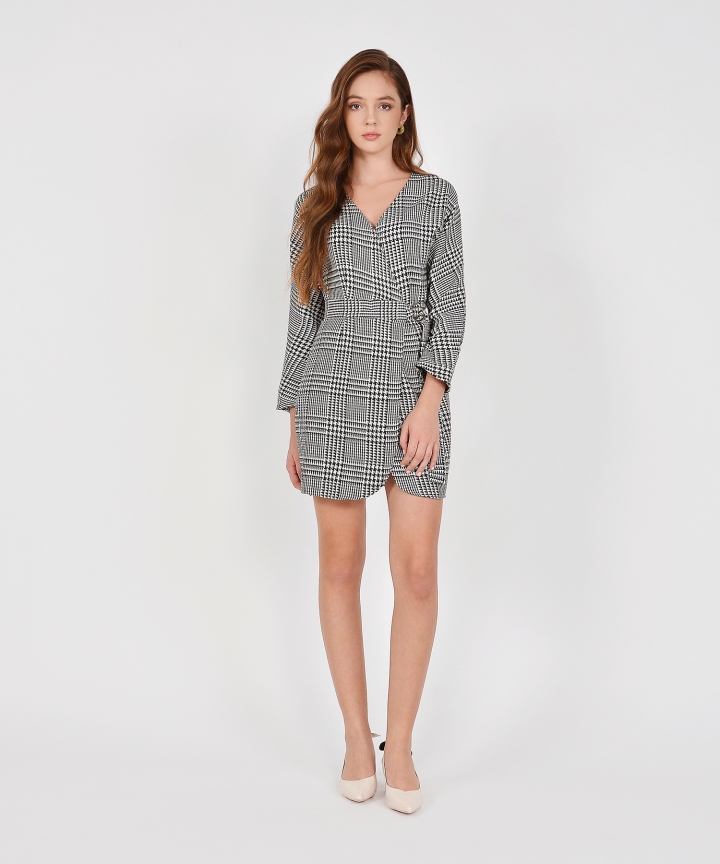 Beverly Houndstooth Wrap Dress