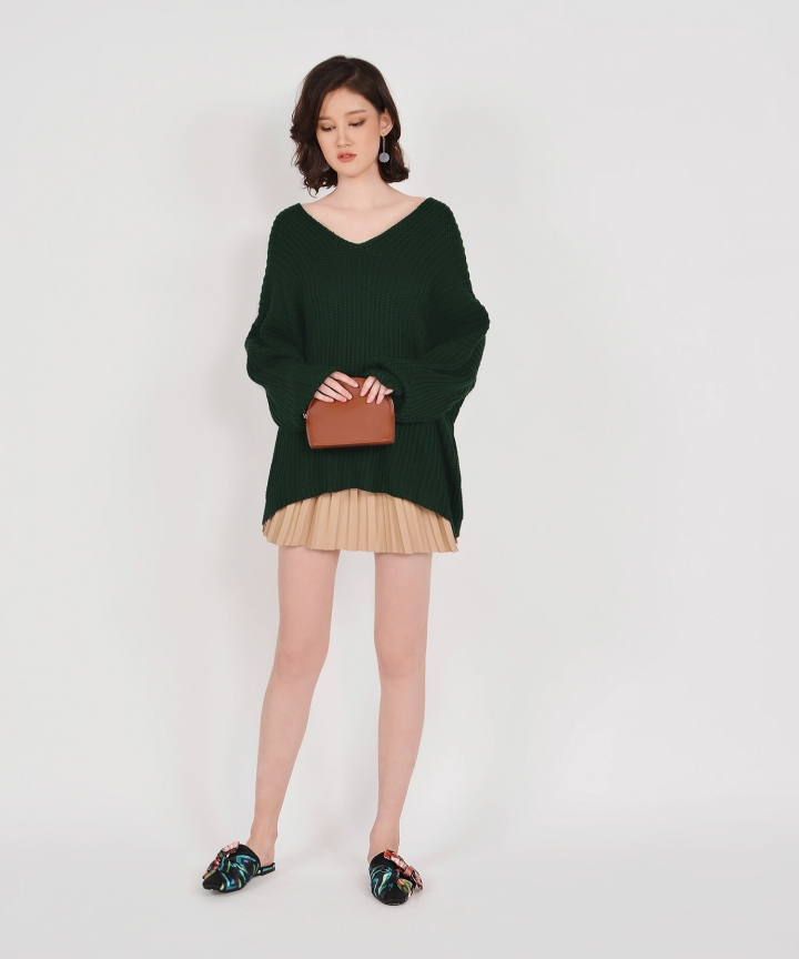 Jacques Oversized Knit Top - Hunter Green