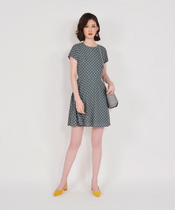 Elsie Printed Mini Dress - Storm Blue