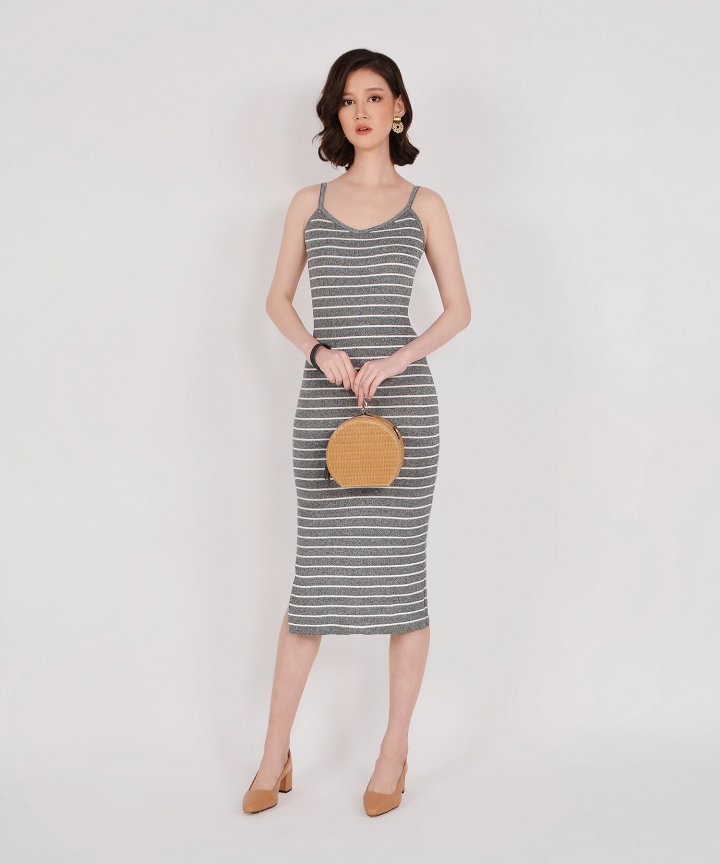 Kelsie Striped Knit Midi - Grey