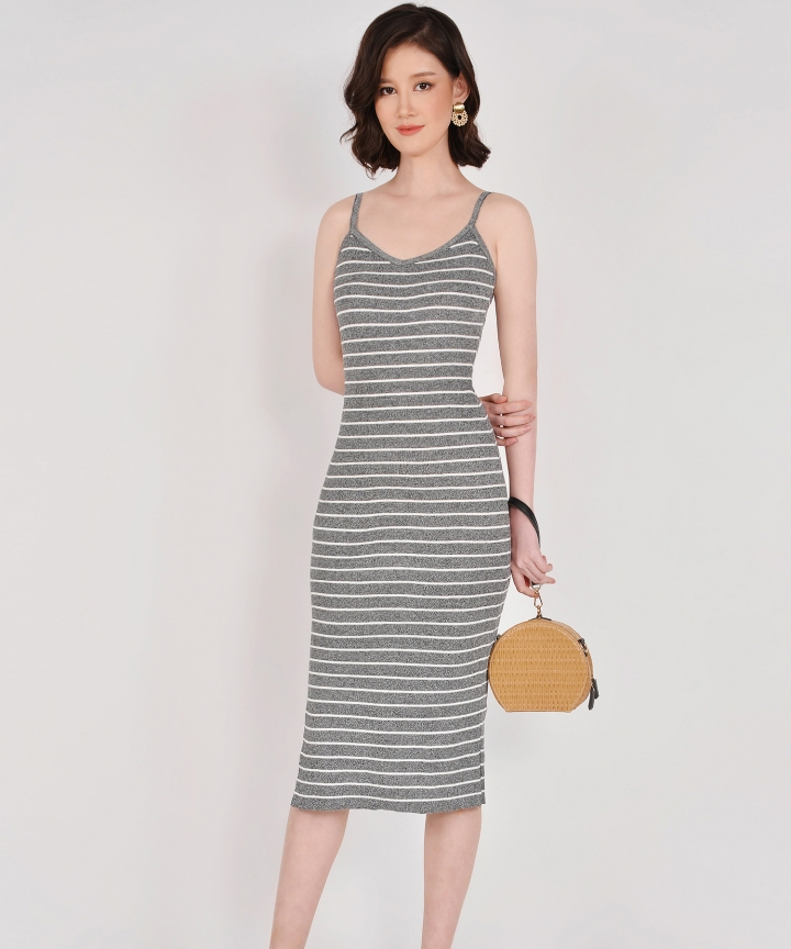 Kelsie Striped Knit Midi - Grey