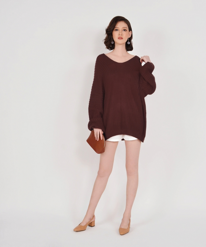 Jacques Oversized Knit Top - Dark Brown