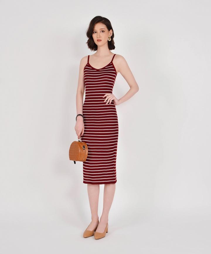 Kelsie Striped Knit Midi - Wine