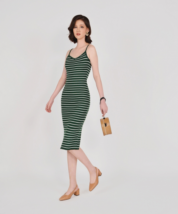 Kelsie Striped Knit Midi - Forest Green