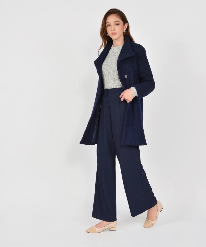 Aurora Classic Wool Coat - Navy
