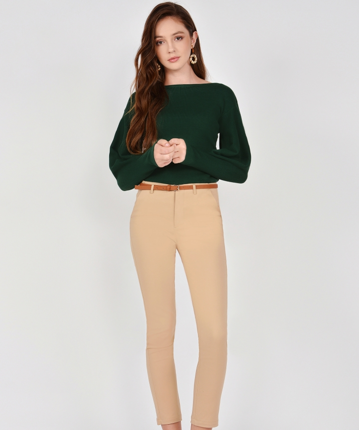Selma Boat Neck Knit Top - Forest Green