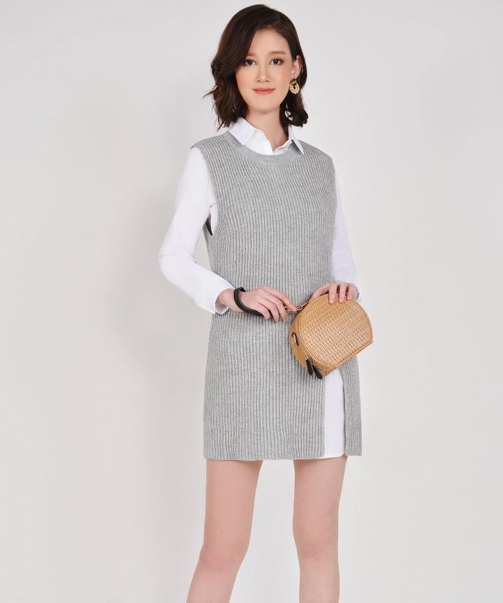 Cassidy Knit Vest - Pale Grey