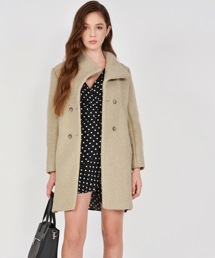 Aurora Classic Wool Coat - Dust Olive
