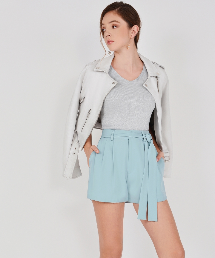 Jayne Belted Shorts - Pale Turquoise