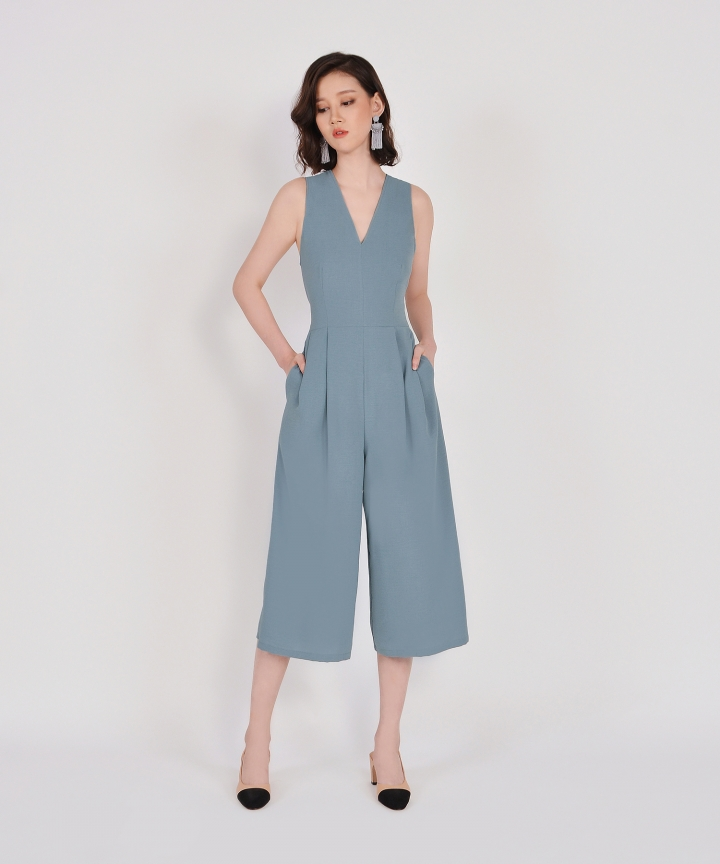 Dorothy V-Neck Jumpsuit - Mist Blue
