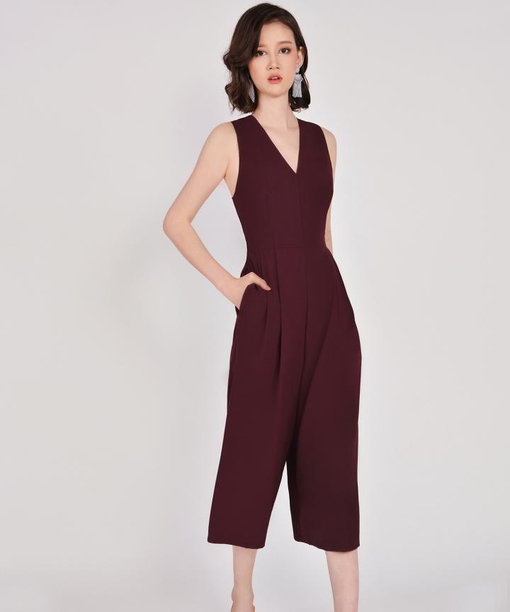 Dorothy V-Neck Jumpsuit - Maroon