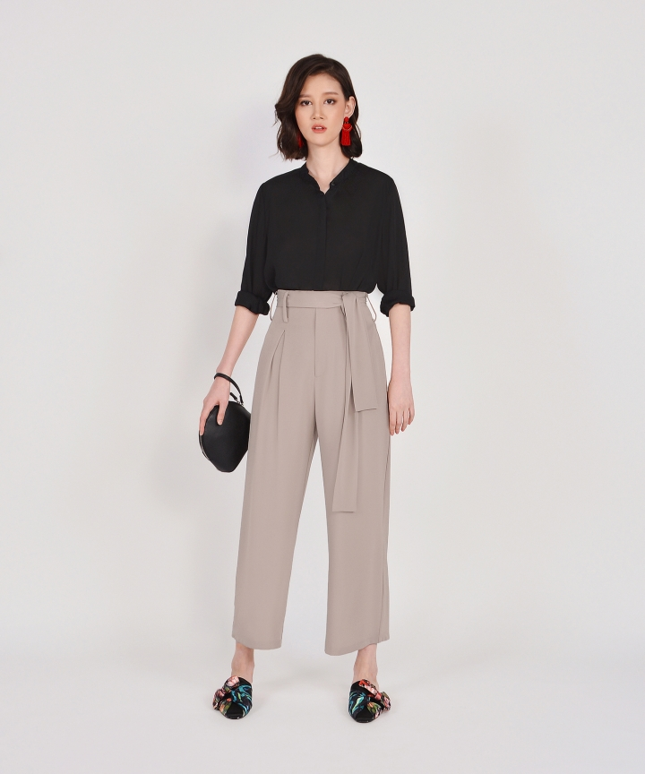 Bronwyn High Waisted Trousers - Sand