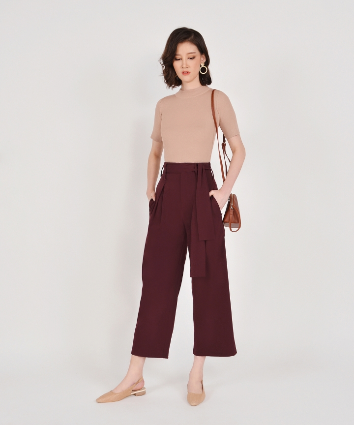 Bronwyn High Waisted Trousers - Maroon