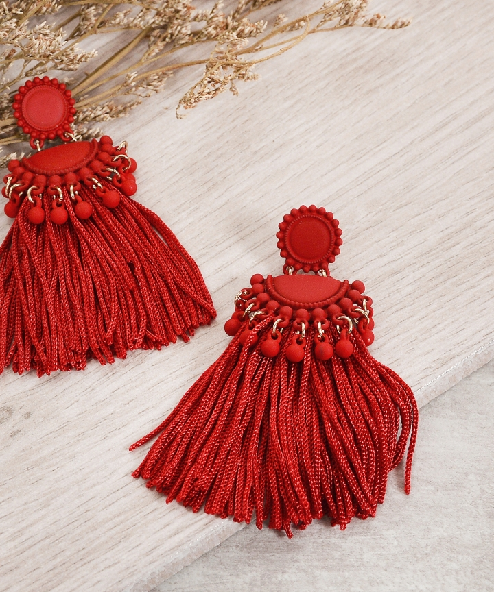 Ulysses Tassel Earrings - Red