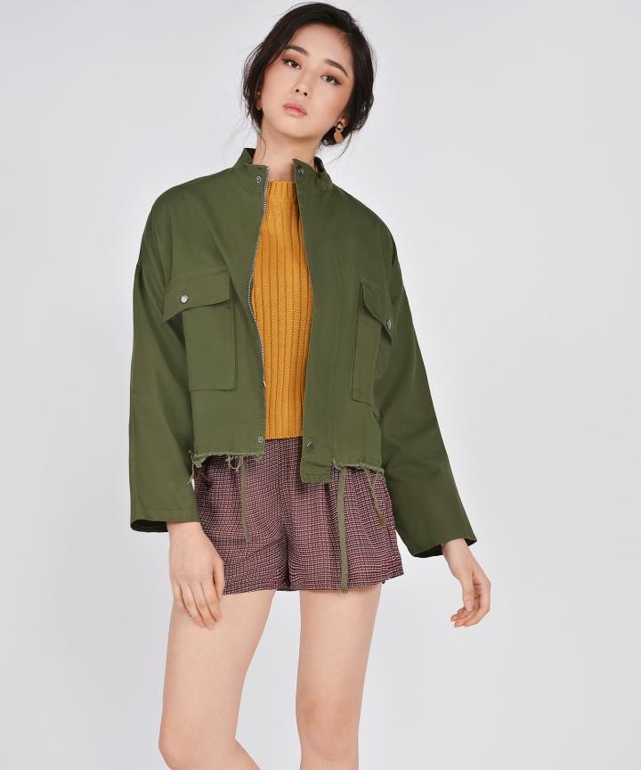 Milton Distressed Jacket - Army Green