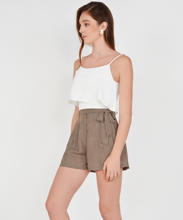 Sybil Overlay Cropped Top - White