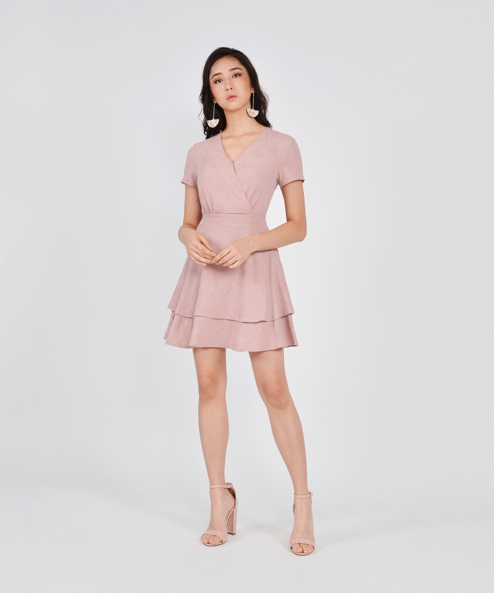 Angelica Textured Tiered Dress - Dust Pink